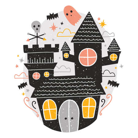 Mysterious haunted castle, cute funny scary ghosts and bats flying around against starry night sky on background. Creepy scene. Colorful vector illustration in flat cartoon style for Halloween.