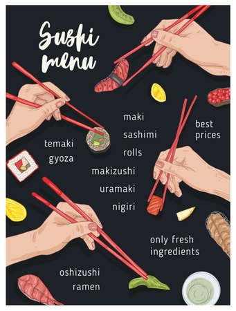 Japanese restaurant menu template with hands holding appetizing sushi, sashimi and rolls with chopsticks on black background. Realistic hand drawn vector illustration for Asian meals advertisement. Stock Vector - 123424846