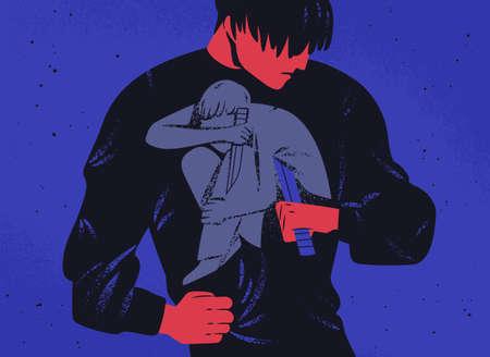 Hombre triste y su personalidad interior con cuchillo. Concepto de lucha interna, guerra, lucha con uno mismo, lucha con la depresión. Colapso mental, problema psicológico. Ilustración de vector plano moderno