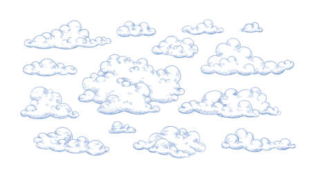 Bundle of fluffy clouds drawn with contour lines. Collection of romantic decorative design elements isolated on white background. Elegant vector illustration for weather forecast, Valentine's day