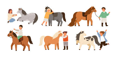 Collection of children and ponies. Set of cute happy boys and girls practicing horseback riding, playing with their domestic animals, caring about them. Flat cartoon colorful vector illustration.