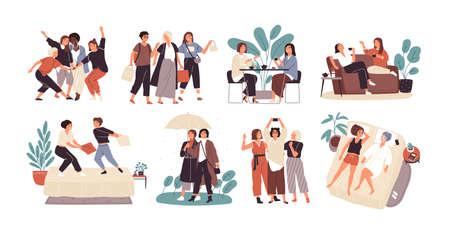 Ensemble de jeunes femmes ou d'amies passant du temps ensemble - boire du thé au café, marcher avec un parapluie, combattre des oreillers, faire du shopping, prendre un selfie. Personnages de dessins animés mignons. Illustration vectorielle plane