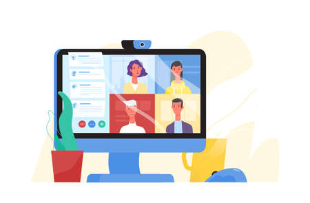 Desktop computer with group of colleagues taking part in video conference. Software for videoconferencing and online communication. Virtual work meeting. Modern vector illustration in flat style Vettoriali