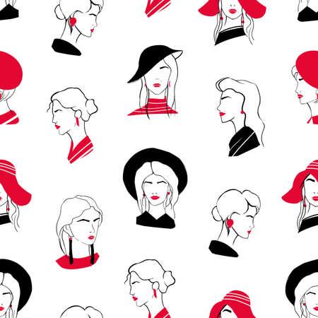 Elegantes nahtloses Muster mit Köpfen schöner stilvoller junger Damen. Kulisse mit noblen modischen Frauen auf weißem Hintergrund. Handgezeichnete Vektorgrafik für Packpapier, Textildruck