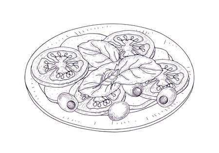 Insalata caprese su piatto disegnato a mano con linee di contorno su fondo bianco. Pasto sano e gustoso ristorante italiano fatto di pomodori freschi, mozzarella, basilico, olive. Illustrazione vettoriale realistica Vettoriali