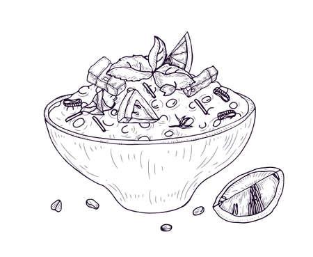 Insalata Tabbouleh o Hummus in ciotola disegnata a mano con linee di contorno su sfondo bianco. Pasto vegano delizioso e salutare. Cibo vegetariano appetitoso per pranzo o cena. Illustrazione vettoriale realistica