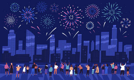 Crowd of people watching fireworks displaying in dark evening sky and celebrating holiday against city buildings. Festival celebration, pyrotechnics show. Flat cartoon colorful vector illustration.