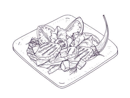 Caesar salad on plate hand drawn with contour lines on white background. Delicious restaurant meal made of chicken, lettuce leaves, fresh vegetables and croutons. Realistic vector illustration