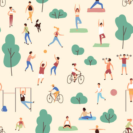 Seamless pattern with men and women performing physical or sports activities in park. Backdrop with outdoor fitness training. Flat cartoon vector illustration for wrapping paper, textile print