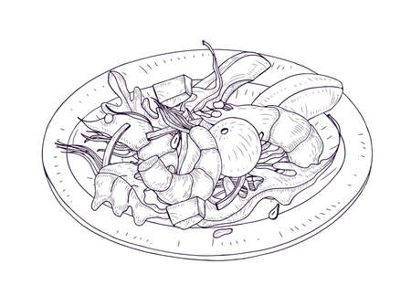 Delicious salad with seafood and vegetables on plate hand drawn with contour lines on white background. Wholesome meal made of shrimps, avocado, lettuce leaves. Realistic vector illustration