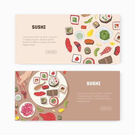Bundle of web banner templates with Japanese food and hands holding sushi, sashimi, rolls with chopsticks and place for text. Vector illustration for Asian restaurant promotion, advertisement.