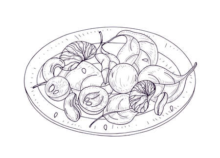 Tasty salad on plate hand drawn with contour lines on white background. Delicious restaurant veggie meal made of fruits, nuts and spinach leaves. Appetizing vegan dish for lunch. Vector illustration