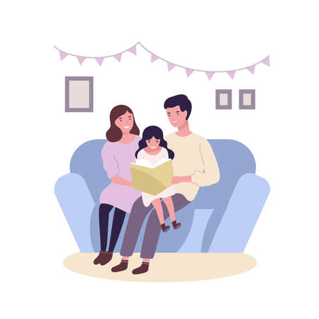 Happy happy family sitting on sofa and reading book or fairytale. Smiling mother, father and daughter spending time together. Parents and child at home. Flat cartoon colorful vector illustration Ilustração