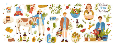 Collection of organic eco vegan products - natural cosmetics, vegetables, fruits, berries, tofu, nut butter, soy and coconut milk. Urban gardening and farming set. Flat cartoon vector illustration Çizim
