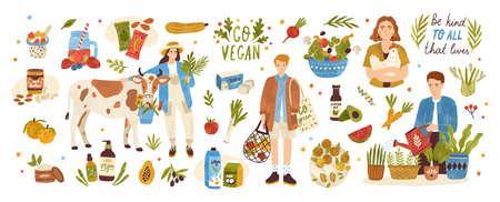 Collezione di prodotti biologici eco vegan - cosmetici naturali, verdura, frutta, bacche, tofu, burro di noci, soia e latte di cocco. Set per giardinaggio e agricoltura urbana. Illustrazione vettoriale di cartone animato piatto