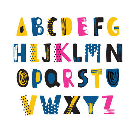 Cute childish latin font or funky english alphabet decorated with dots and scribble. Colorful textured letters placed in alphabetical order isolated on white background. Flat vector illustration