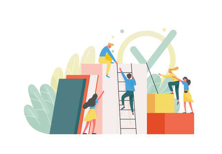 Composition with group of managers, employees or office workers climbing up together and supporting each other. Concept of team building, teamwork, collective work. Flat colorful vector illustration