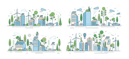 Collection of cityscapes or urban landscapes with eco city using ecologically friendly technologies - wind power, solar energy, electric transport. Modern vector illustration in line art style