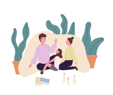 Famille aimante. Mère, père et fille souriants assis dans un fort de couverture et racontant des histoires ou des contes de fées. De mignons parents et enfants passent du temps ensemble à la maison. Illustration vectorielle de dessin animé plat Vecteurs