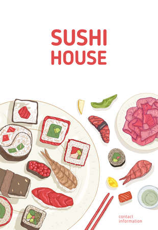 Flyer template with dining table and hands holding sushi, sashimi and rolls with chopsticks on white background. Realistic vector illustration for Sushi House or Japanese restaurant advertisement.