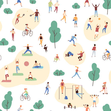 Seamless pattern with crowd of people performing healthy activities and playing sports games in park. Backdrop with outdoor fitness or aerobics workout. Flat cartoon vector illustration for wallpaper