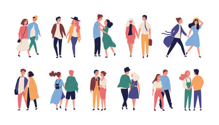 Collection of couples on romantic date. Set of teenage boys and girls holding hands, walking together isolated on white background. Bundle of men and women in love. Flat cartoon vector illustration