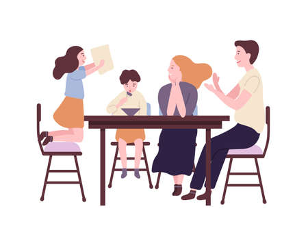 Familia feliz sentado en la mesa del comedor y desayunando, almorzando o cenando. Sonriente madre, padre, hijo e hija comiendo juntos. Padres e hijo en casa. Ilustración vectorial de dibujos animados plana