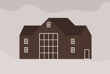 Facade of modern living town house or cottage in Scandic style. Exterior of wooden Scandinavian building of sustainable architecture. Suburban residence or ranch. Flat monochrome vector illustration.