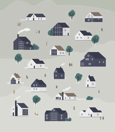 Banner template with town district with country cottages of modern Scandic architecture and walking people. Background with suburban living buildings or real estate. Flat cartoon vector illustration Vector Illustratie