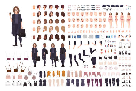 Fashionable teenage girl avatar constructor kit. Set of body parts, clothes and accessories. Trendy street style outfit. Female cartoon character. Front, side, back views. Flat vector illustration.