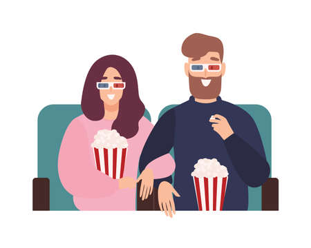 Young man and woman in 3d glasses watching film or movie together at cinema theater. Romantic date with partner found online through mobile dating application. Flat cartoon vector illustration