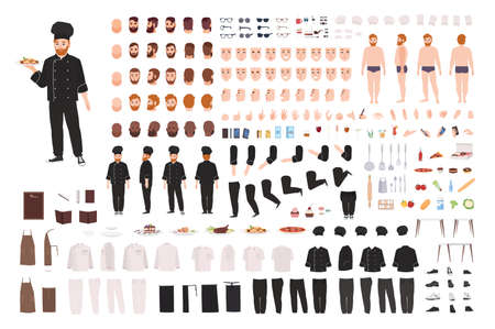 Chef, culinary worker, kitchen staff DIY set or creation kit. Collection of body parts, gestures, postures, uniform. Male cartoon character. Front, side, back views. Flat vector illustration