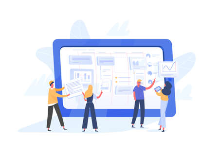 Group of tiny office workers organizing tasks on screen of giant tablet PC. Agile, SCRUM or Kanban method of project management for business work organization. Modern flat vector illustration. Çizim