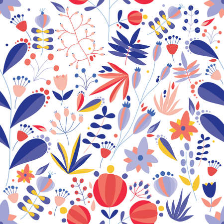 Summer seamless pattern with blooming flowers on white background. Floral backdrop with tender meadow wildflowers. Flat seasonal vector illustration in naive style for wallpaper, wrapping paper
