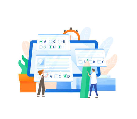 Giant computer and tiny male and female students passing internet test and filling in form. Online exam, distant learning or education. Modern educational technology. Flat vector illustration. Illustration
