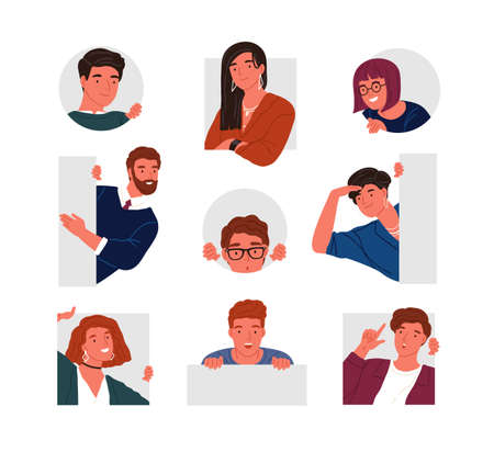 Collection of peeping people isolated on white background. Set of portraits of funny curious young men and women searching something. Bundle of design elements. Flat cartoon vector illustration