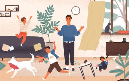 Papá tranquilo y niños traviesos y desobedientes corriendo a su alrededor. Padre rodeado de niños trata de mantener la ecuanimidad, la compostura y la calma. Paternidad moderna. Ilustración de vector colorido de dibujos animados plana