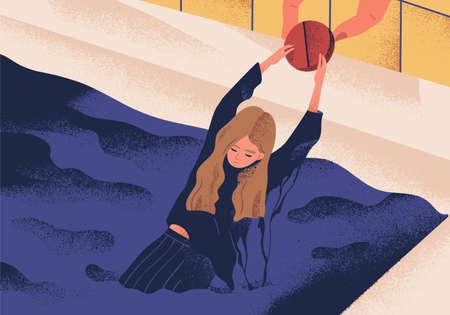 Jeune femme déprimée se noyant dans la piscine et s'accrochant à une grosse pilule. Concept d'antidépresseur sauvant une fille de la dépression, des médicaments traitant une maladie ou un trouble. Illustration vectorielle plane moderne
