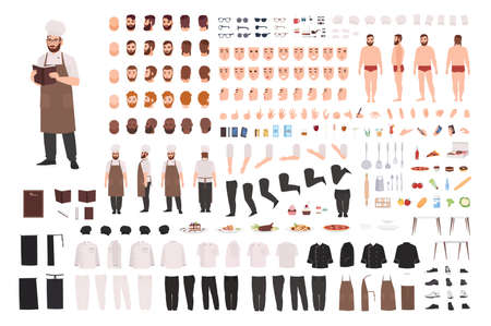 Koch-, Koch- oder Küchenarbeiter-Konstruktor-Set oder Kreations-Kit. Bündel von Körperteilen, Mimik, Körperhaltungen, Uniform. Männliche Zeichentrickfigur. Vorder-, Seiten-, Rückansichten. Flache Vektorillustration Vektorgrafik