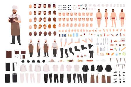 Set di costruzione o kit di creazione per chef, cuoco o lavoratore di cucina. Fascio di parti del corpo, espressioni facciali, posture, uniforme. Personaggio dei cartoni animati maschile. Vista frontale, laterale, posteriore. Illustrazione vettoriale piatta Vettoriali