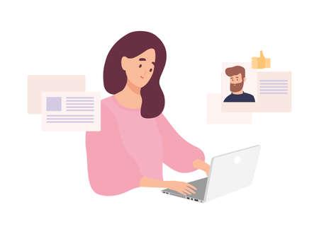 Donna seduta al computer portatile e utilizzando il sito Web per appuntamenti o alla ricerca di amore o partner romantico su internet. Carina ragazza sorridente che cerca di trovare il fidanzato online. Illustrazione vettoriale di cartone animato piatto