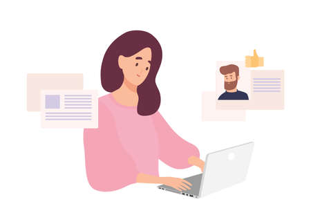 Woman sitting at laptop and using website for dating or searching for love or romantic partner on internet. Cute smiling girl trying to find boyfriend online. Flat cartoon vector illustration