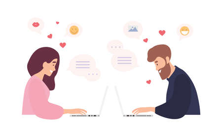 Man and woman sitting at laptops, using dating website and chatting. Romantic couple having conversation on internet. Cute girl and boy sending online messages to each other. Flat vector illustration