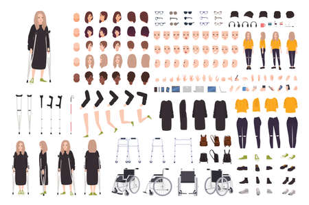 Giovane donna con il costruttore di stampelle o kit fai da te. Personaggio dei cartoni animati femminile con trauma o disabilità. Fascio di parti del corpo, posture, gesti. Vista frontale, laterale, posteriore. Illustrazione vettoriale piatta Vettoriali