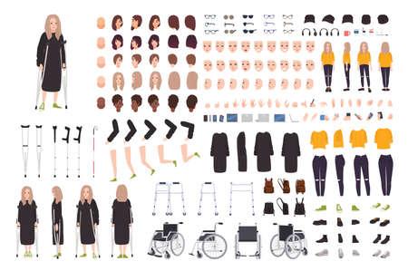 Junge Frau mit Krückenbauer oder Bausatz. Weibliche Zeichentrickfigur mit Trauma oder Behinderung. Bündel von Körperteilen, Körperhaltungen, Gesten. Vorder-, Seiten-, Rückansichten. Flache Vektorillustration Vektorgrafik
