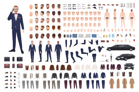 Stylish man dressed in elegant suit creation set or DIY kit. Collection of body parts, clothes, faces, postures, accessories. Male cartoon character. Front, side, back views. Flat vector illustration