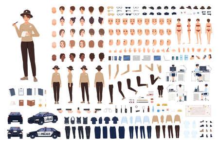 Conjunto de constructor de mujer policía o kit de animación. Colección de partes del cuerpo de mujer policía, gestos, posturas, ropa o uniforme aislado sobre fondo blanco. Ilustración de vector de dibujos animados plana