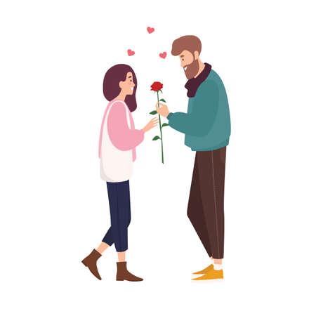 Adorabile coppia felice innamorata di un appuntamento romantico. Ragazzo sorridente sveglio che dà fiore rosa alla ragazza. Il giovane e la donna si sono incontrati tramite un'applicazione o un sito Web di incontri online. Illustrazione vettoriale di cartone animato piatto Vettoriali