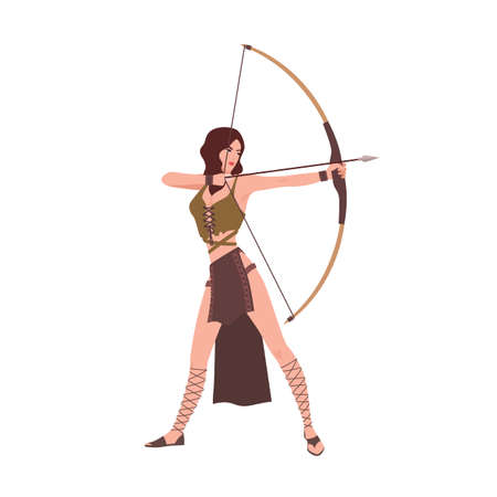 Diana or Artemis, goddess of hunt from Roman or Greek mythology isolated on white background. Brave beautiful woman archer holding bow and aiming or shooting. Flat cartoon vector illustration. Illustration