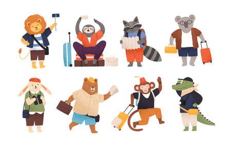 Verzameling van schattige gelukkige wilde dieren toeristen of reizigers. Bundel van grappige grappige stripfiguren met bagage of bagage die op reis of vakantie gaat. Platte kinderachtige vectorillustratie Vector Illustratie